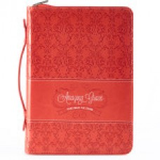 Bible Cover - Amazing Grace in Coral - Size Medium