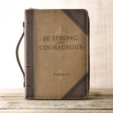 Bible Cover Be Strong and Courageous - Brown / Tan - Size Large