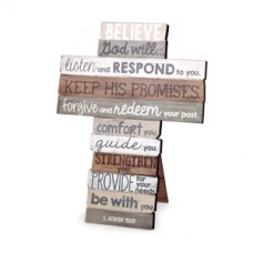 Believe God Will - Wood Stacked Cross