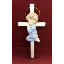 Cross Blue Praying Boy - Ceramic