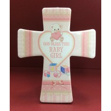 God Bless This Baby Girl - Pink Cross