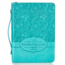 Bible Cover Everlasting Love Turquoise Jeremiah 31:3 - Size Large