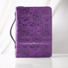 Bible Cover - I Can do all things - LuxLeather in Purple - Medium Size