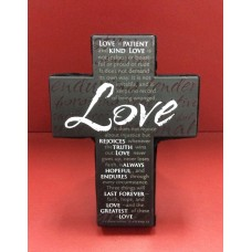 Cross - Love Small Metal Cross (Black)