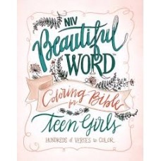 NIV Beautiful Word Colouring Bible for Teen Girls - Cranberry / Blue Leathersoft