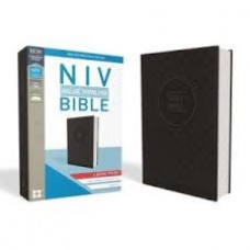 NIV  Large Print  Value Thinline - Charcoal / Black  leathersoft