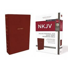 NKJV Giant Print Reference Bible Deluxe Personal Size - Red Leathersoft