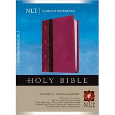 NLT Slimline Reference Bible - Rich Raspberry Dark Brown Leatherlike