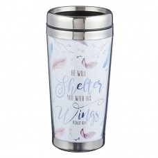 Travel Coffee Mug - He Will Shelter you - Stainless Steel & Polymer