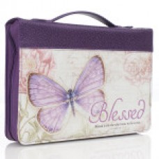 Bible Cover Blessed Butterfly in Purple - Large Size