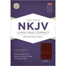 NKJV Large Print Compact Reference Bible (Brown Leather Touch)
