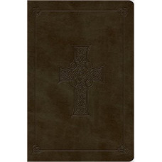 ESV Large Print Bible - Trutone Olive Celtic Cross