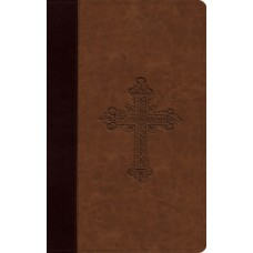 ESV Large Print Compact - Trutone Burgundy/Tan Vintage Cross Design