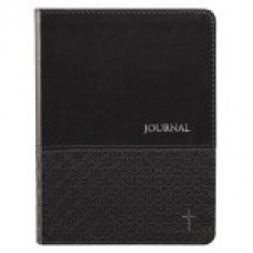 Journal - Black Classic LuxLeather Journal with Silver Cross