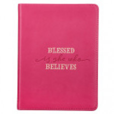Journal Blessed is she who Believes - Pink Faux Leather Handy-Sized