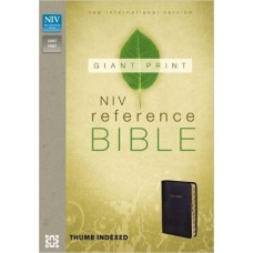 NIV Giant Print Reference Bible - Thumb Indexed - Black Leather Look