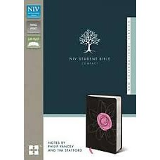 NIV Student Bible - Compact - Italian Duo-Tone Pink Flower - Notes by Philip Yancey & Tim Stafford