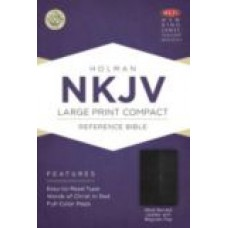 NKJV Large Print Compact Reference Bible (Black Bonded Leather With Magnet Flap)