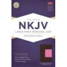 NKJV Large Print Personal Size Reference Bible - Brown/Pink - Magnetic Flap