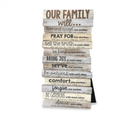 Our Family Will - Wood Stacked Desk Top Plaque