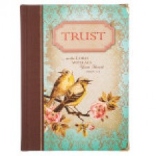 Trust - Metal Cornered Hardcover Journal - Teal Birds